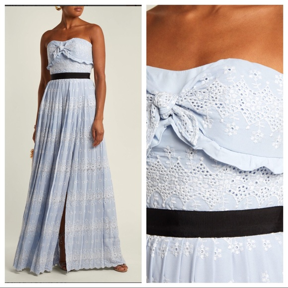 396aa53494a1f Self Portrait Strapless Eyelet Maxi Dress/Gown NWT